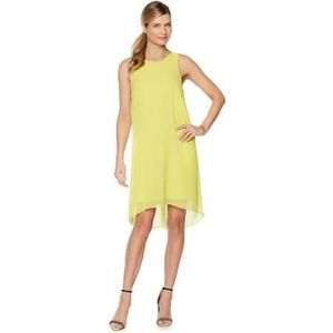 Vince Camuto High Low Neon Yellow Lime Green Dress